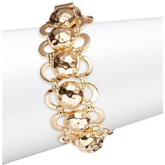 R.J. Graziano Goldtone Hammered Ball Link Bracelet ($85) ❤ liked on Polyvore featuring jewelry, bracelets, gold, polish jewelry, r j graziano bangles, polishing gold jewelry, hammered jewelry and gold jewelry