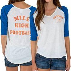Women's Denver Broncos Majestic Orange Field of Play Tri-Blend T ...