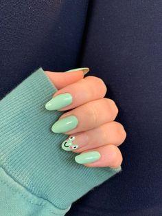 Acrylic Nails Coffin Short, Summer Acrylic Nails, Best Acrylic Nails, Acrylic Nail Designs, Green Nail Designs, Simple Acrylic Nails, Spring Nails, Acrylic Nails Green, Summer Nails