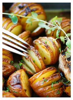 Garlic herb-roasted potatoes.