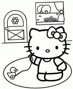 coloring page of hello kitty