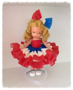 Fourth of July Decoration Vintage Nancy Annl Doll Fourth of July Ornament  Patriotic TVAT