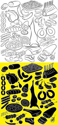 Meat Product Vector (Vector EPS, AI Illustrator, CS, bacon, beef, Butcher, cartoon, design, doodle, drawing, drawn, food, frankfurter, ham, icon, illustration, isolated, lamb, line art, meal, meat, mutton, pig, pork, product, rib, salami, sausage, set, silhouette, steak, vector, wurst)