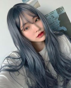 Image about girl in Ulzzang by angel on We Heart It Hair Color Streaks, Hair Color Purple, Hair Dye Colors, Hair Highlights, Two Color Hair, Blue Grey Hair, Pastel Blue Hair, Korean Hair Color, Korean Hair Dye