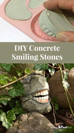 DIY Concrete Smiling Stones - Made By Barb - zippered toothy laughsHow to make Halloween teeth rocks – Recycled CraftsThis is so creepy, but I love it! How to make Halloween teeth rocks!I'm not sure what I think about these quirky smiling stones. Cement Art, Concrete Crafts, Concrete Art, Concrete Projects, Concrete Garden, Concrete Planters, Concrete Casting, Concrete Molds, Concrete Design