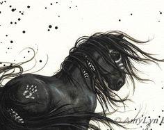 Majestueuze paarden - Friese verf Native veren - Fine Art Prints door Bihrle mm48