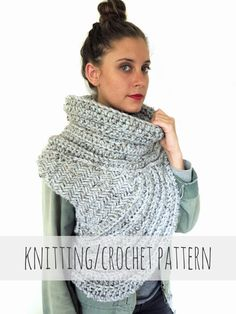 PATTERN for Chunky Knit Crochet Asymmetric Cowl by TwoOfWandsShop