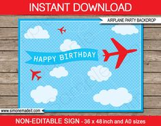 Airplane Theme Party Invitations & Decorations full