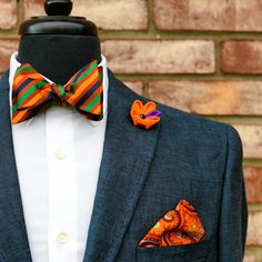 Loud bow tie and pocket square combo. Would you wear it? #BowTie #Style