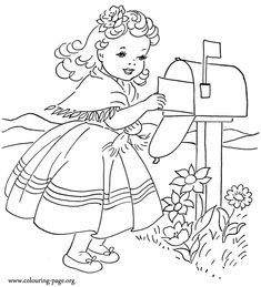 Girl Mailing Valentine's Day Card Coloring Page