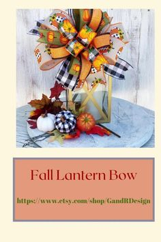 Add this beautiful handtied bow to any fall decor for the finishing touch you are looking for Autumn Decorating, Fall Decor, Fall Lanterns, Plaid Decor, Harvest Decorations, Autumn Wreaths, Christmas Ribbon, Buffalo Plaid, Fall Crafts