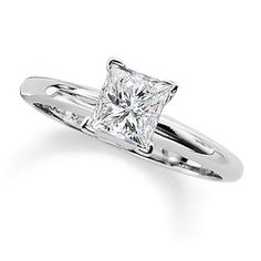 1-1/4 CT. Princess Cut Certified Diamond Solitaire Engagement Ring in 14K White Gold - View All Rings - Zales holy geez I'd take this one! It's only 5000! Lol
