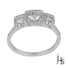 14K White Gold 0.93 Cts 45 Round 3 Stone Halo Diamond Engagement Ring - JHS #WomensClassicRingJewelryhotspot