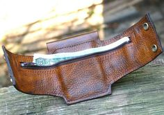 Rustic Leather Wrist Wallet Cuff for Men and by sewlutionsbyamo
