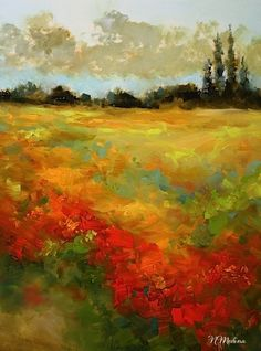 Sunset Blaze Field of Wildflowers by Nancy Medina Oil ~ 16 x 12