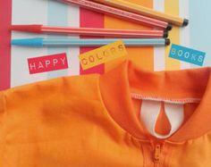 """Grembiule """"Balocco ZIP-Kukù"""" in cotone colorato per scuola asilo pittura e altre attività - Waldorf - Montessori - per bambini"""