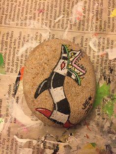 Beetlejuice painted rock