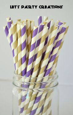 Purple and Gold Paper Straws,50 Stripe Metallic Gold Straws,Cake Pops,Gold Weddings,Purple and Gold Wedding,Purple and Gold Party, Diy Flags on Etsy, $8.00