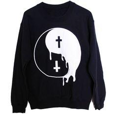 OMG Yin Yang Drip Cro... Shop Now! http://www.shopelettra.com/products/yin-yang-drip-cross-pullover-sweatshirt?utm_campaign=social_autopilot&utm_source=pin&utm_medium=pin