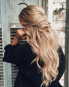 Beachy Waves with Half Up Fishtail Braid