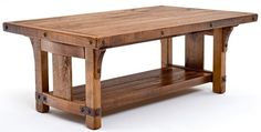 "Bungalow Coffee Table - Features Solid Wood & Forged Metal Braces - Item #CT03068 - 48"" x 30"" x 18.5""H - Custom Sizes Available"