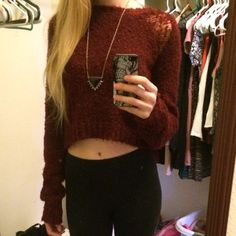 Forever 21 burgundy crop sweater Burgundy crop sweater. Forever 21. Tag says size large, but I'm a small and it fits me well. The sleeves are extra long. Super cozy and cute! Pre-loved, but in good condition. Forever 21 Sweaters