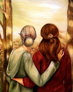Mother and daughter our walk art print by claudiatremblay on Etsy Mother Daughter Art, Mother Art, Art And Illustration, Claudia Tremblay, Bff Drawings, Ouvrages D'art, Fine Art Paper, Wall Art Decor, Sketches