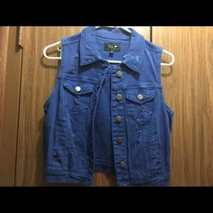 Royal Blue denim vest In great condition. style with a cute black and white shirt or use as a pop of color to your outfit *runs small* Jackets & Coats Vests