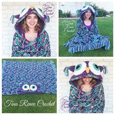 Hooded Owl Blanket, Mj's Off the Hook pattern design - neat. Owl Crochet Patterns, Crochet Owls, Crochet For Kids, Crochet Crafts, Crochet Baby, Crochet Projects, Knit Crochet, Crochet Owl Blanket Pattern, Crochet Ideas
