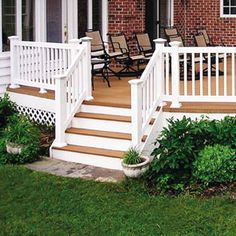"Our Dover style railing features 1¼"" x 1¼"" Picket, and 2 x 3½"" Handrail"