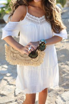 White Off The Shoulder Spaghetti Strap With Lace Dress Casual Dresses, Casual Outfits, Cute Outfits, Wrap Dresses, Fashion Wear, Boho Fashion, Trendy Fashion, White Off Shoulder, Shoulder Dress