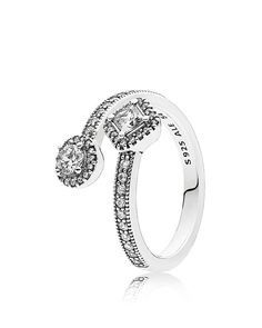 PANDORA Sterling Silver & Cubic Zirconia Abstract Elegance Ring