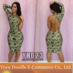 2014 New Club Dress Novelty Peacock Bandage Dresses Woman Printed Bodycon Club Wear Long Sleeve Knee-Length Evening Dress $13.99