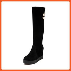 WeiPoot Women's Round Closed Toe High-Heels Frosted Solid Above-the-knee Boots, Black, 43 - Boots for women (*Amazon Partner-Link)