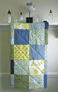 Modern Baby Boy Quilt -  Blue Paisley - Gender Neutral Crib Quilt in Navy, Citron, Blue, and Ivory. $98.00, via Etsy.