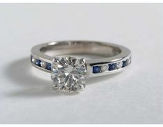 1 Carat Diamond Channel Set Sapphire and Diamond Engagement Ring | Blue Nile Engagement Ring