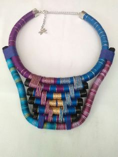 Livia Tribal Necklace Festival Fashion Thread Wrepped Necklace Colorful Necklace Abstract Rope Necklace Geometric Necklace