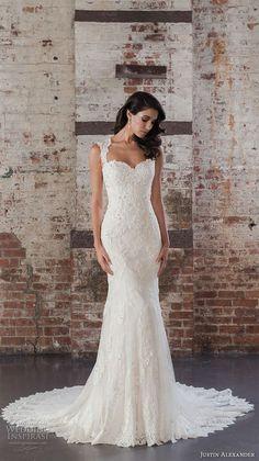 justin alexander spring 2017 bridal thick straps sweetheart neckline full embellishment elegant fit and flare wedding dress sheer back chapel train (9861) mv