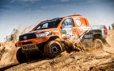 Download wallpapers Toyota Hilux, 2018, Dakar Rally, desert sand, racing cars, Toyota