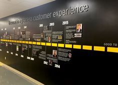 """"""" Corporate timeline wall and environmental graphics for office in Ft. Office Wall Design, Workspace Design, Office Walls, Wayfinding Signage, Signage Design, Display Design, Stand Design, Office Graphics, Museum Exhibition Design"""