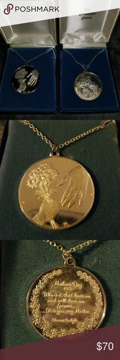 Vintage Sterling Franklin Mint Mother Day Neklaces Very Nice Vintage  Mothers day Sterling Necklaces. IOB  Both need  cleaning.. very nice present. Awesome items. sterling Jewelry Necklaces