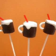 Root Beer Float Mug Pops made out of marshmallows and melted chocolate. A cute and fun tutorial with a variety of mug pop variations.