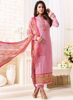 Pink Embroidery Work Georgette Viscose Print  Designer Churidar Suit http://www.angelnx.com/Salwar-Kameez