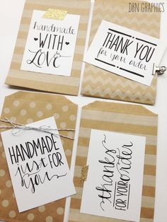 Lables for Handmade Sellers /// Handmade with love /// Thank You for Your Order /// Printable