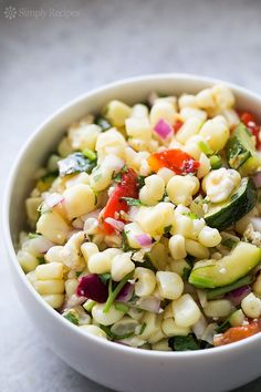 Grilled Corn Salad ~ I mixed this with whole wheat spiral pasta and it was a big success!