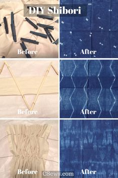DIY Shibori - Indigo dyeing - before and after DIY shibori - indigo dye experiments - pleating, binding, basting muslin fabric, using clothespins and chopsticks for many different designs Fabric Dyeing Techniques, Tie Dye Techniques, Textiles Techniques, Shibori Fabric, Shibori Tie Dye, Dyeing Fabric, Muslin Fabric, Natural Dye Fabric, Natural Dyeing