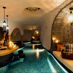 An indoor pool with bar seating included? The ultimate staycation for any home. Luxury homes. Luxurious pools.