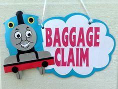 Thomas the Train/ tank engine birthday baggage claim favor sign. on Etsy, $15.00