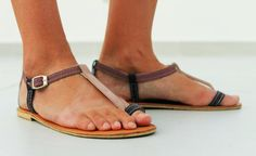 Women's Shoes - Sexy leather sandals with a toe loop.  You can choose any color combination. :)