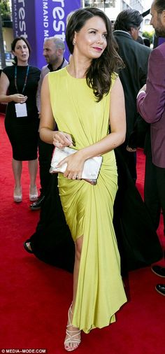 Bold hues: Bridgette Sneddon wowed in lime yellow while Marta Dusseldorp was just one of t...